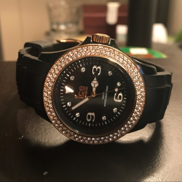 Black ICE watch with Swarovski crystals